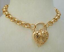 18ct Gold GF Filigree Heart Padlock Locket Belcher Bracelet