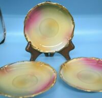 3 Vintage Saucer Plates Porcelain China Colorful Pink Green Yellow Gold Accents