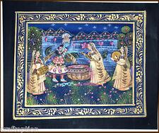 Original Radha Krishna Miniature Indian painting on silk cloth natural colors