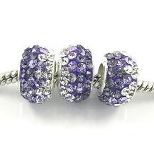 2pcs Luxurious Czech Crystal Round Bead European Charm Fit Necklace Bracelet NEW