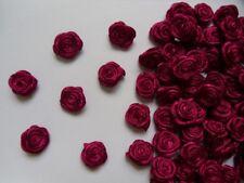 """3/8"""" (W) Burgundy Satin Polyester Mini Ribbon Roses Flowers-100pcs (R0030E1)"""