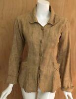 FLAX Jeanne Engelhart Natural Linen Shapely Jacket Tunic Top Shirt Lagenlook S