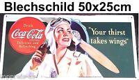 Coca-Cola Coke Nostalgie Blechschild Flugzeug 25x50cm Deko Bar Gastro