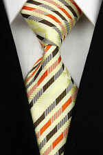 Gold Coloured 100% Pure Silk Men's Neck Tie with Orange & Brown Diagonal Pattern