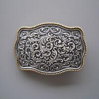 Men Belt Buckle Silver Flower With Gold Edge Western Cowboy Cowgirl Belt Buckle