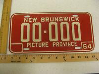 1964 64 NEW BRUNSWICK NB CANADA SAMPLE LICENSE PLATE TAG 00-000
