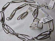 Massives Schmuck-Set in Silber 925 mit Zirkonia, Collier, Ohrstecker und Ring