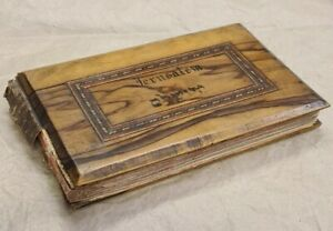 Antique 'Flowers of the Holy Land' pressed flowers in olive wood bound book