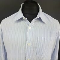 Levi's Mens Casual Shirt LARGE Long Sleeve Blue Regular Fit Striped Cotton