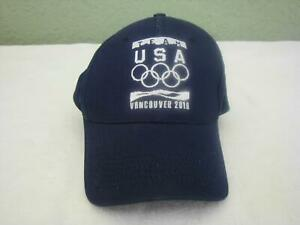 NEW Olympics Team USA Vancouver 2010 Baseball Ball Cap Adjustable Blue Hat NWOT