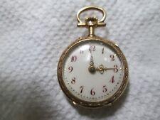 EARLY LECOULTRE & CO 18K GOLD ROSE CUT DIAMONDS ENAMELED MIN LADIES Pocket Watch