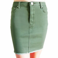WAKEE KHAKI MINI DENIM SKIRT WITH FRAYED HEM. SIZE 6-16.