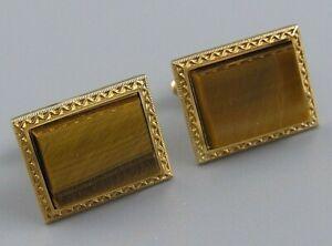 UNIQUE Mens Vintage 12K GOLD FILLED TIGER EYE CUFFLINKS Costume Jewelry T37