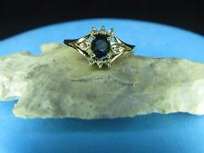 Diamond Sapphire Ring 14K Solid Gold Genuine Diamonds Sapphire   Size 6.0