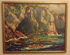 "Vintage Painting ""Coastal Cliffs & Calm Seas"" William C Watts (1869-1961) Signed"