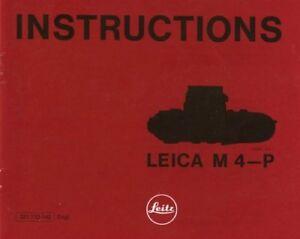 Leica M4-P Instruction Manual Original 1981