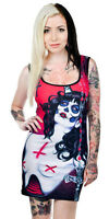 NEW Too Fast Possession Day of the Dead Bettie Stretch Tank Dress/Tunic M Medium