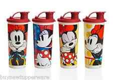 Tupperware FOUR Disney Tall Tumblers Flip-Top Seals Minnie Mouse Rocks Dots New
