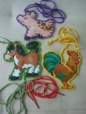 Melissa and Doug Heavy Cardboard Lace And Trace Farm Animals 3 Cards with laces