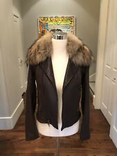 THEORY $1155 Woman ELSTON Leather Jacket Moto Real Raccoon Fur Detachable Collar