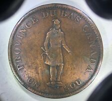 "CANADA, LOWER CANADA: 1837 1 Sou (½ Penny), City Bank ——––> FRENCH ""HABITANT"""