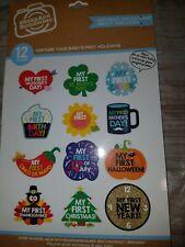 baby Stickers Milestone Holiday Sticker 12 piece Set my first holidays New