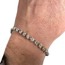 Bracciale tennis da uomo braccialetto con zirconi  swarovski argento regolabile