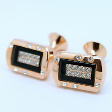 Rose Gold and Black Rectangular Cufflinks with Stones