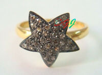 925 Sterling Silver Antique Rose Cut Victorian Vintage Real Diamond Star Ring