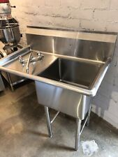 New Commercial 1 Tub Prep Sink 18x18 With 1 Left Drainboard 18 Gauge