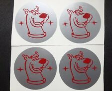SCOOBY DOO CAR ALLOY WHEEL CENTRE CAP STICKER COVER X4 SIL & RED 45mm
