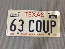 Vintage 1986 TX License Plate 63-COUP