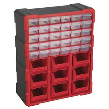 Cabinet Box 39 Drawer Workshop Storage Bins trays Organiser storing unit Red/Bla