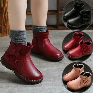 Kids Ankle Boots Boys Girls Winter Warm Snow Boots Chelsea Fur Lined Shoes Size