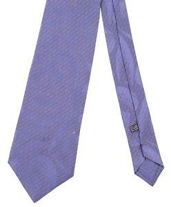 Stefano Ricci Blue & Yellow Pindot Jacquard Geometric Smooth Satin Silk Tie XL