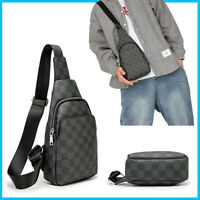 Men's pvc Leather Backpack Crossbody Chest Shoulder Handbags Travel Sling Bag