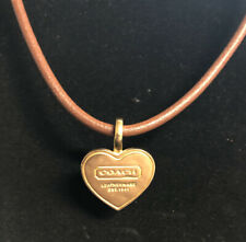 COACH Brown Leather Necklace with Gold Tone Heart Pendant Est. 1941 EUC