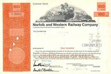 action américaine - Norfolk and Western Railway Compagny 100 Shares 1976