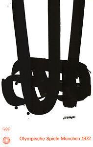 Olympische Spiele 1972 München - Kunst-Motiv -Plakat von Pierre Soulages OLYMPIA