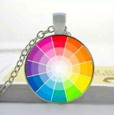 Regenbogen Anhänger mit Halskette Lesbisch Gay Homo Rainbow Schmuck Rund Farbig