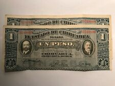 2-1914 Mexico/Revolutionary 1 Peso Notes Consecutive Serial Numbers #19073