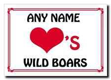 Love Heart Wild Boars Personalised Jumbo Magnet