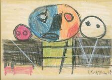 Karel Appel  color pastel on paper laid down on cardboard