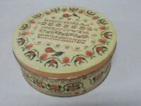 VTG ALPHABET TIN NEEDLEWORK SAMPLER SEWING BASKET TIN BISCUIT TIN PEACH WHEAT
