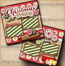 CHRISTMAS BAKING premade scrapbook paper piecing layout cookies DIGISCRAP A0138
