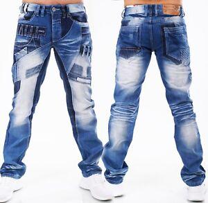 HIGHNESS Homme Pantalon Jeans Coupe Droite ´S Wear Patchs Mega Lavage HN-621A