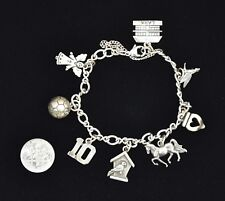 James Avery Sterling Silver Forged Link Charm Bracelet with 8 Charms