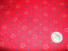 "Vintage Cotton Fabric NAVY BLUE,WHITE OUTLINE STARS DOTS ON RED 1 Yd/45"" Wide"