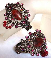 Vintage Antique Copper Luk Deco Nouveau Filigree Bangle Cuff W Swarovski Crystal