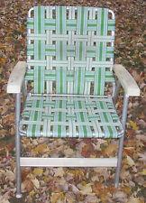 Vintage aluminum metal lawn chair -- folding, webbed lawnchair